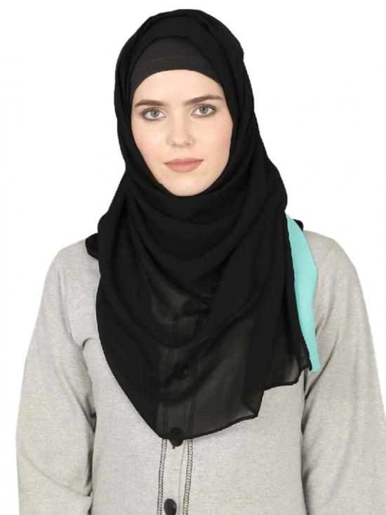 Georgette Band Plain Hijab In Black And Aqua