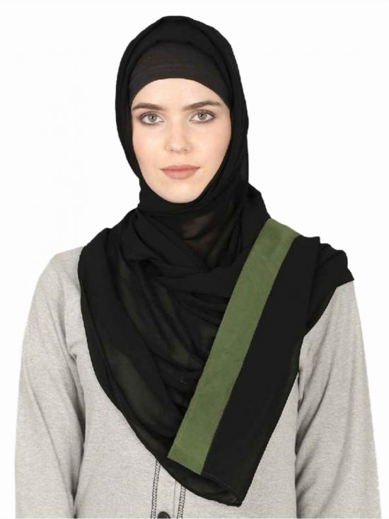 Georgette Band Plain Hijab In Black And Green