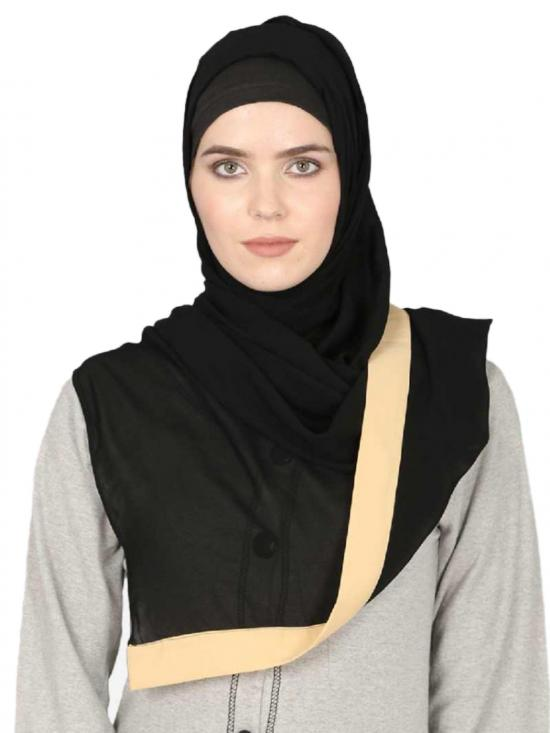 Georgette Band Plain Hijab In Black And Beige