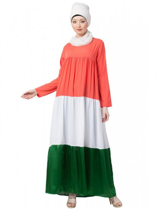Polyester Crape Four Gathered Layer Abaya In Saffron White And Green