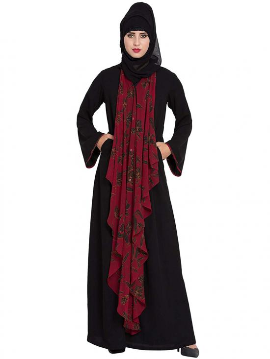 Nida Mate Dual Color Abaya With Floral Print Falling Panels In Black