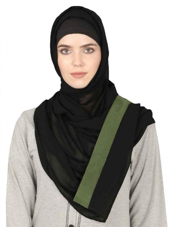 Georgette Band Plain Hijab In Black And Olive Green