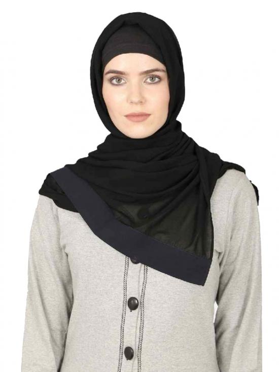 Georgette Band Plain Hijab In Black And Navy Blue