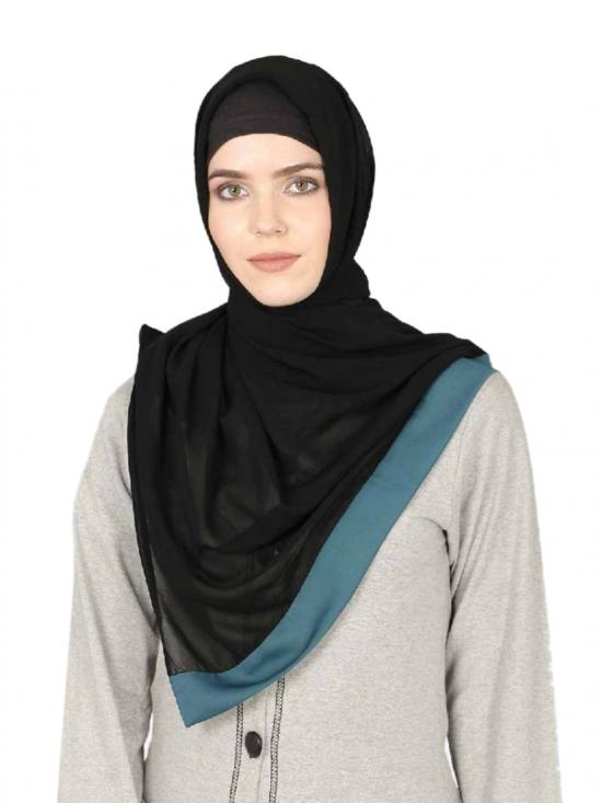 Georgette Band Plain Hijab In Black AndTeal Blue