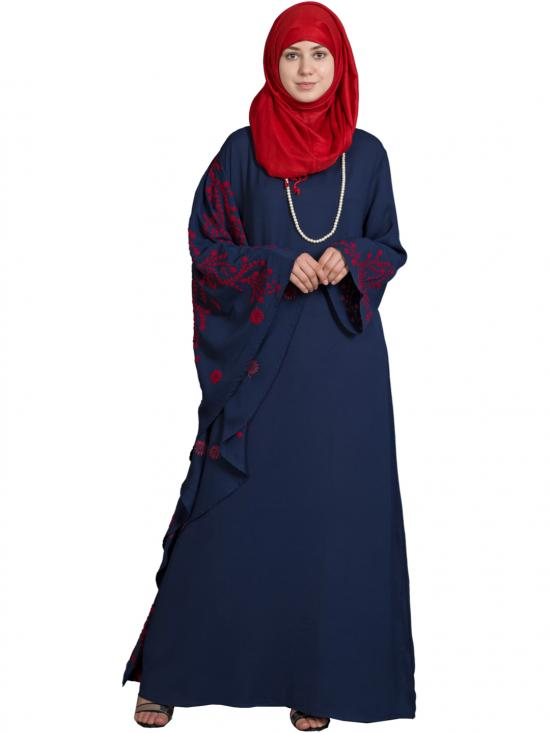 Polyster Crepe Embroidered Butterfly Sleeve Abaya In Navy Blue And Red