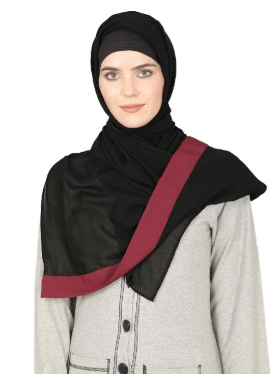 Georgette Band Plain Hijab In Black And Maroon