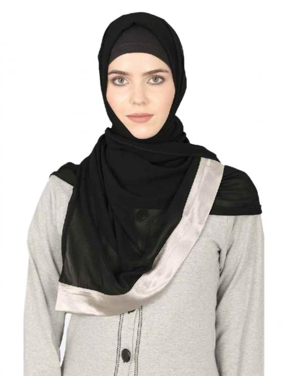 Georgette Band Plain Hijab In Black And Silver