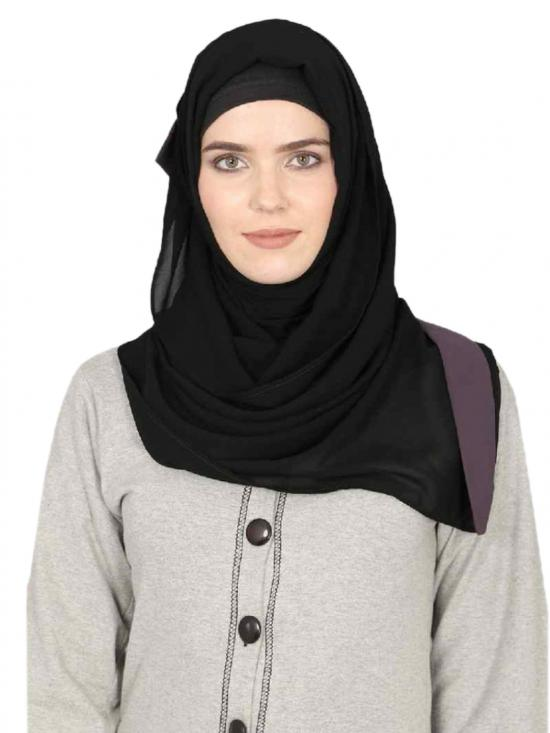 Georgette Band Plain Hijab In Black And Purple