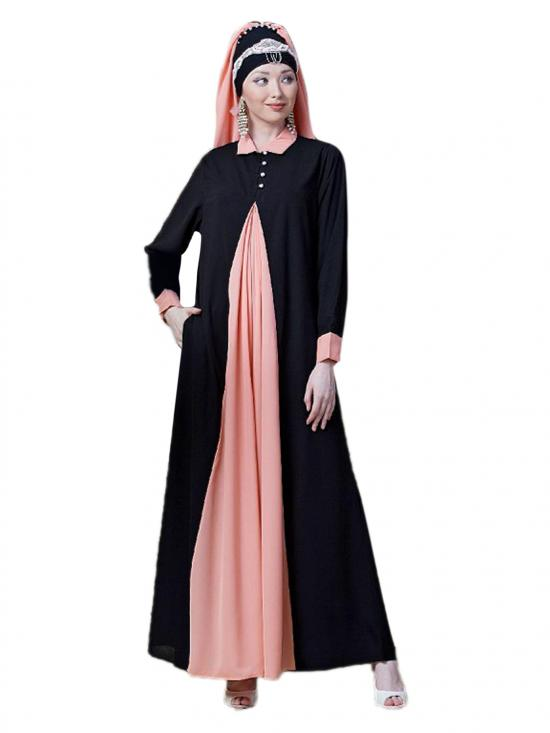 Polyester Crape Contrast Yoke Casual Abaya In Black And Peach