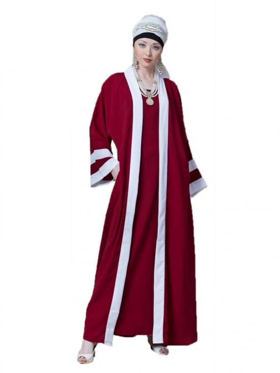 Polyester Crepe Contrast Band With Inner Dubai Kaftan In Red And White