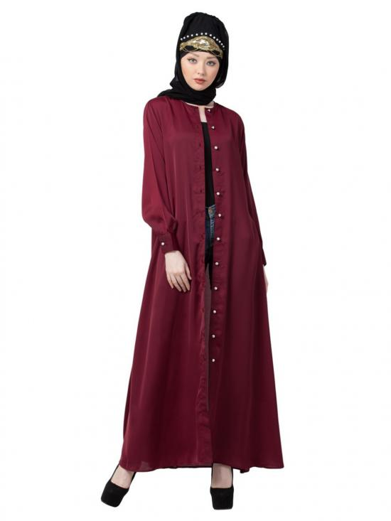 Premium Nida Decorative Button With Front Open Abaya In Maroon