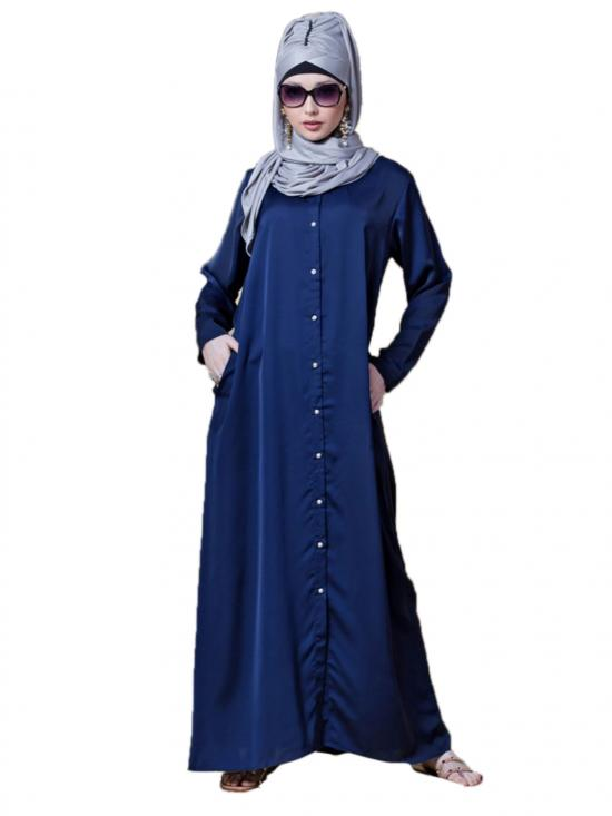 Premium Nida Decorative Button With Front Open Abaya In Navy