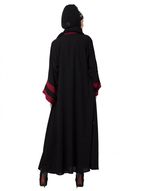 Polyester Crepe contrast band with inner Dubai Kaftan In Black And Maroon