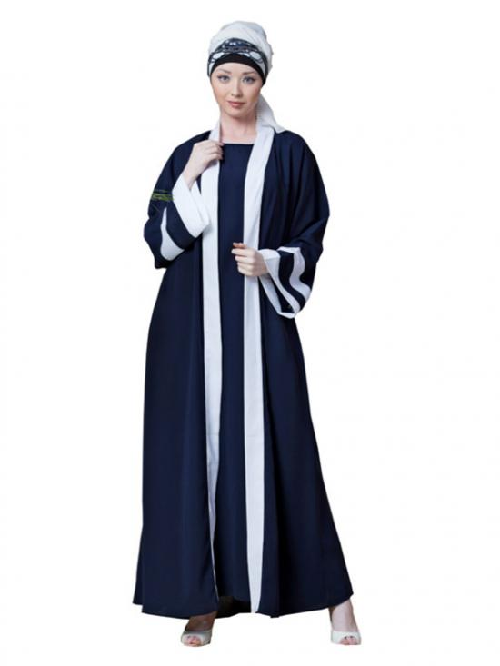 Polyester Crepe contrast band with inner Dubai Kaftan In Navy And White