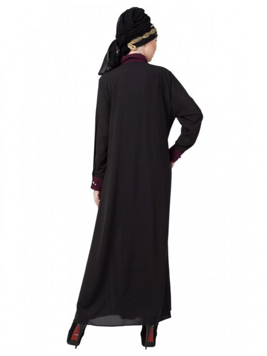 polyester Crape Contrast Yoke Casual Abaya In Black And Wine