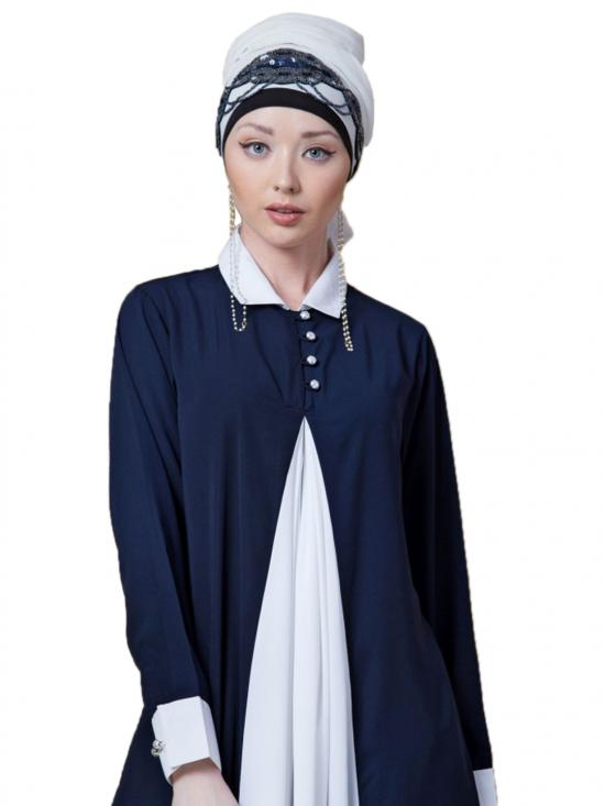 polyester Crape Contrast Yoke Casual Abaya In Navy And White