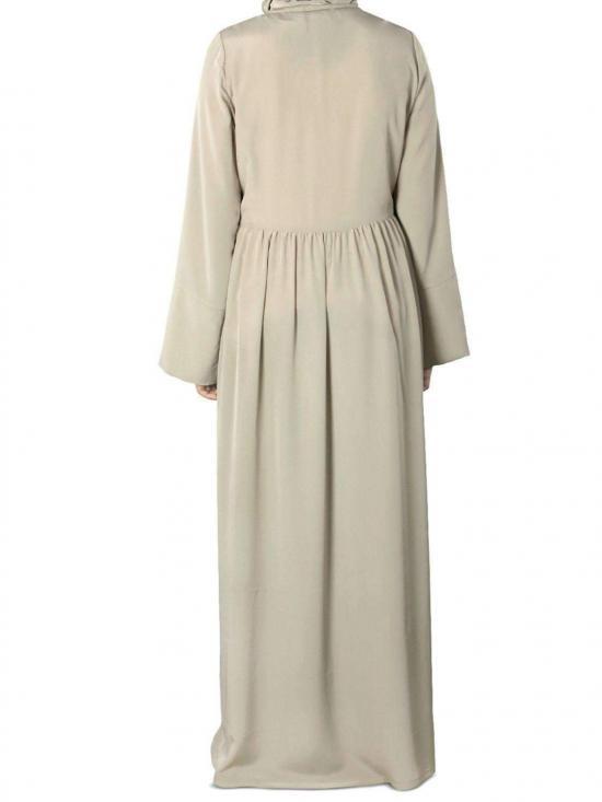 Nida Matte Sumlina Hand Embroidered Abaya In Warm Grey