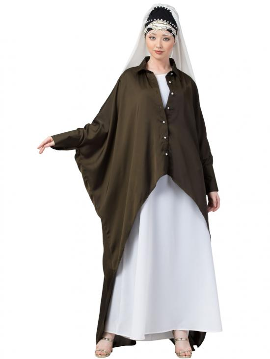 Satin Front Open Shirt Kaftan With Inner Casual Abaya In Olive And White