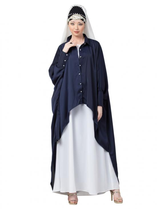 Satin Front Open Shirt Kaftan With Inner Casual Abaya In Navy And White