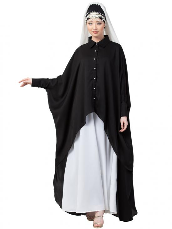 Satin Front Open Shirt Kaftan With Inner Casual Abaya In Black And White