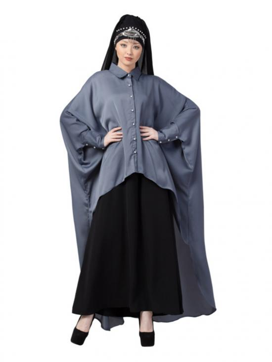 Satin Front Open Shirt Kaftan With Inner Casual Abaya In Grey And Black