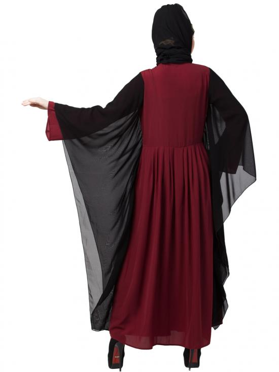 Crepe Contrast Butterfly Sleeve With Pleated Abaya In Maroon And Black