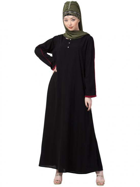 Crepe Contrast Piping With Sleeve Casual Abaya In Black