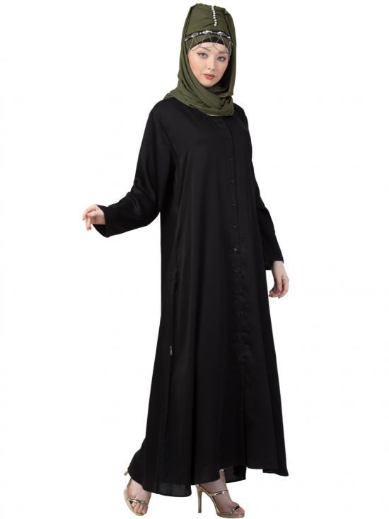 Satin Front Open Abaya In Black