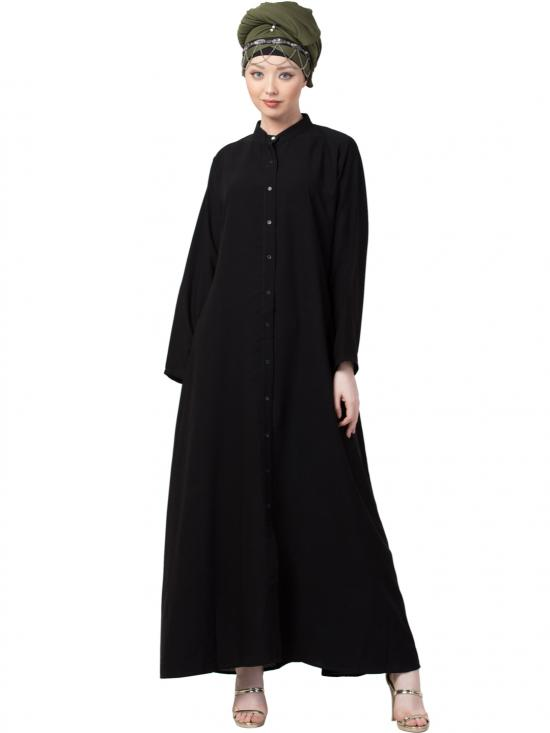 Crepe Front Open Chinese Collar With Casual Abaya In Black