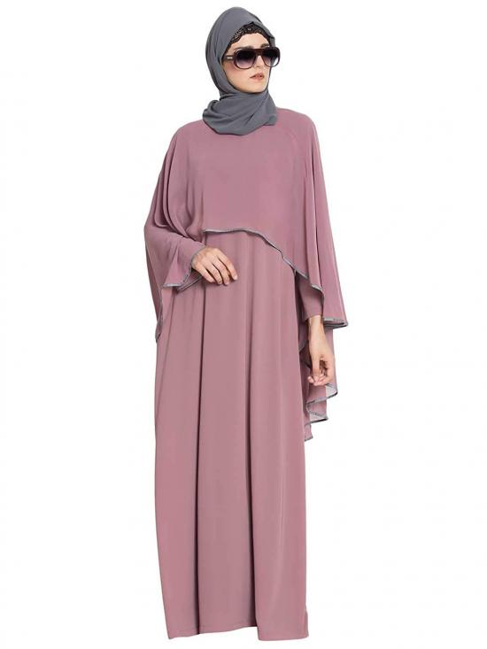 Nida Matte Georgette Cape Abaya In Puce Pink And Grey