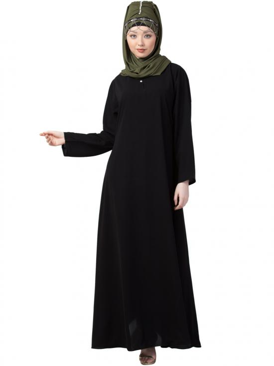 Crepe Front Placket With Flare Bottom Abaya In Black