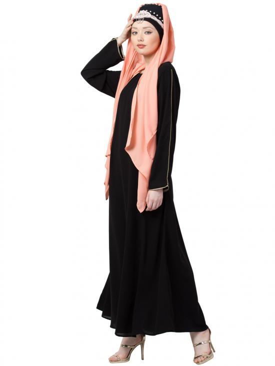 Crepe Golden Piping Sleeve With Casual Abaya In Black