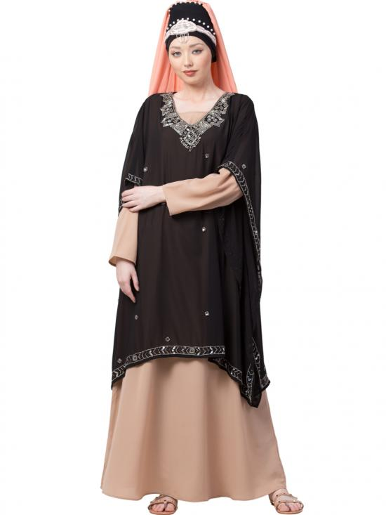 Georgette Double Layer With Embellished Party Abaya In Black And Skin