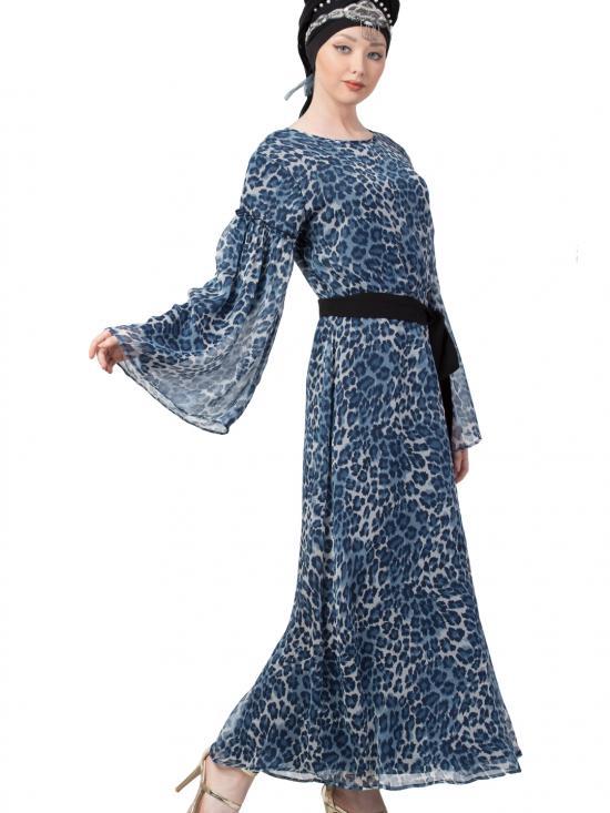 Georgette animal printed bell sleeve Casual Abaya In Blue