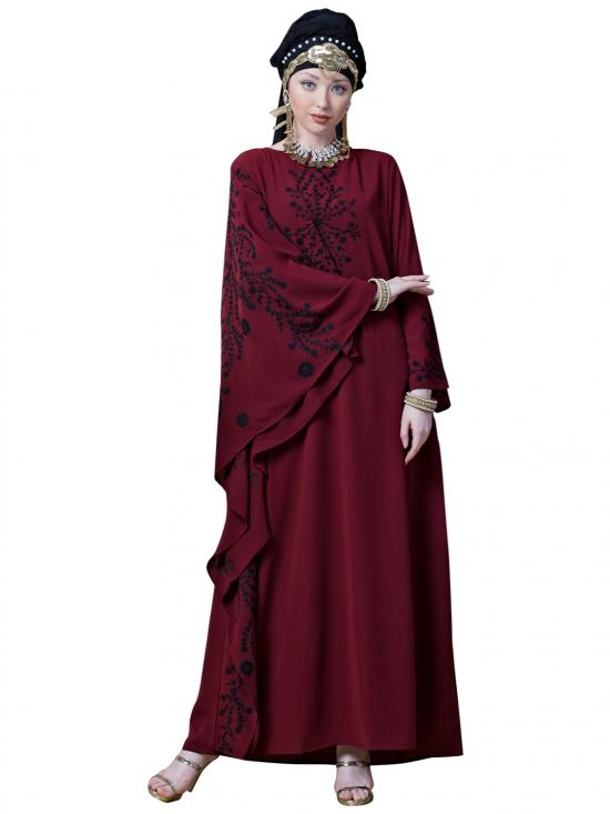 Crepe Embroidered Butterfly Sleeve Party Abaya In Maroon And Black