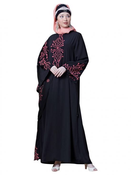 Crepe Embroidered Butterfly Sleeve Party Abaya In Black And Coral