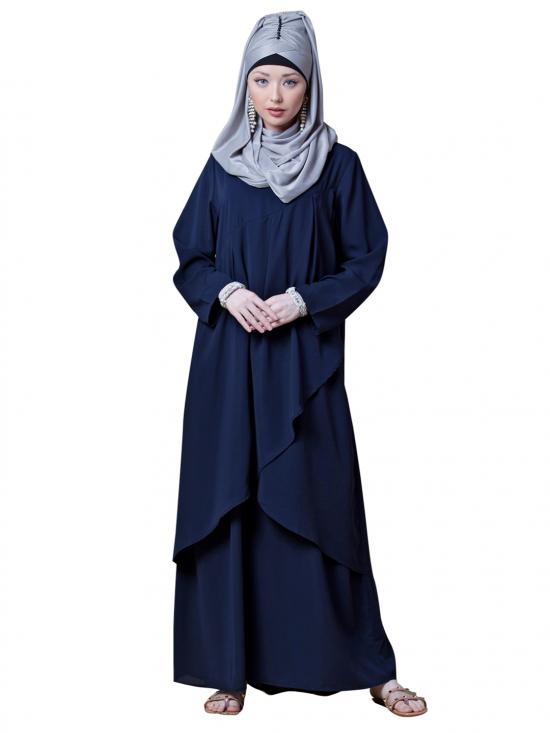 Crepe Over Lapped Panel Casual Abaya In Navy