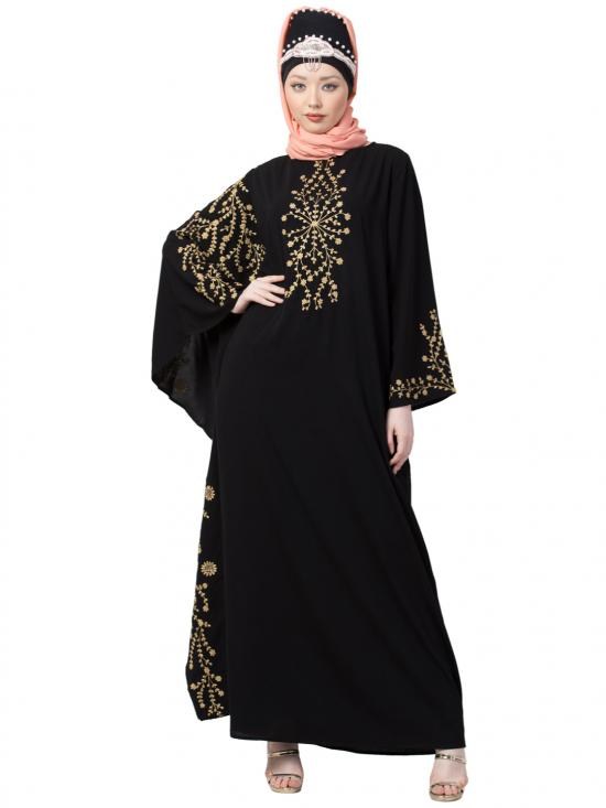 Crepe Embroidered Butterfly Sleeve Party Abaya In Black And Golden
