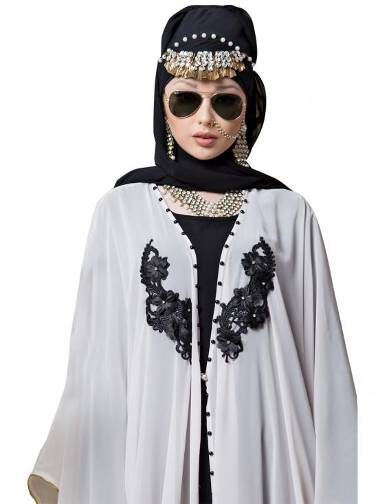 Georgette butterfly upper with inner Embroidered cum Kaftan In Lt Pink And Black