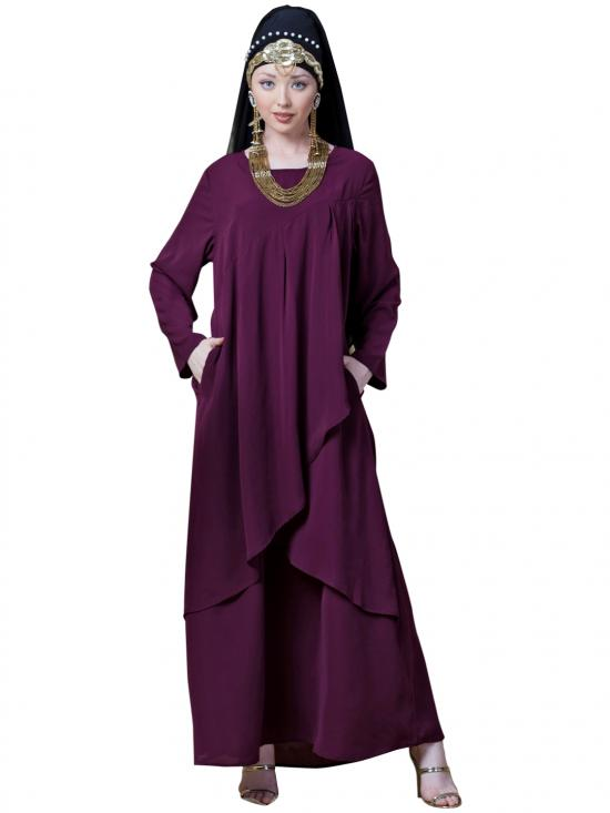 Crepe Over Lapped Panel Casual Abaya In Wine