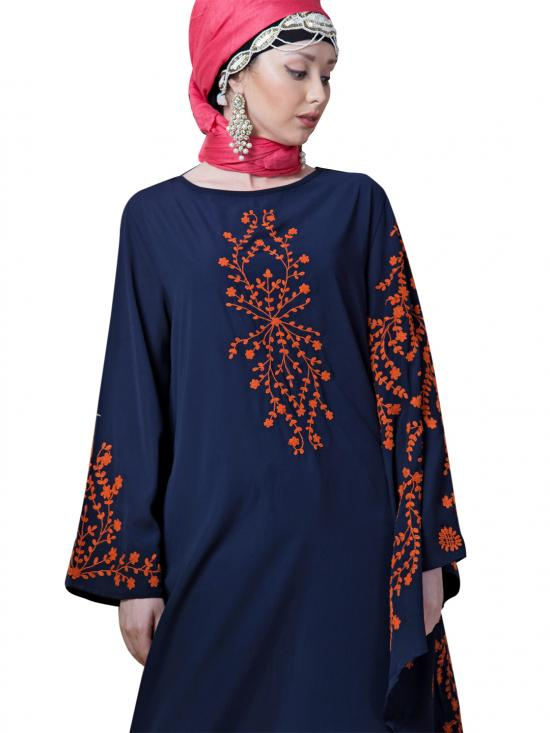 Crepe embroidered Butterfly Sleeve Party Abaya In Navy Blue And Orange