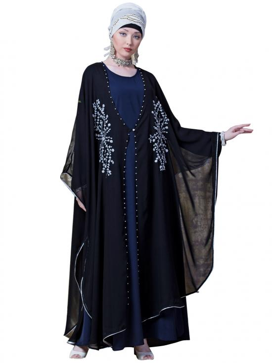 Georgette Butterfly Upper With Inner Embroidered Cum Kaftan In Black And Navy