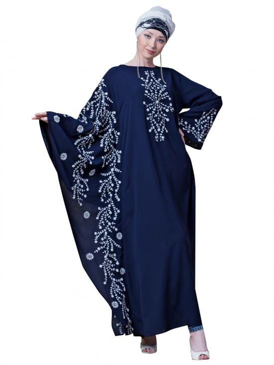 Crepe Embroidered Butterfly Sleeve Party Abaya In Navy Blue And White