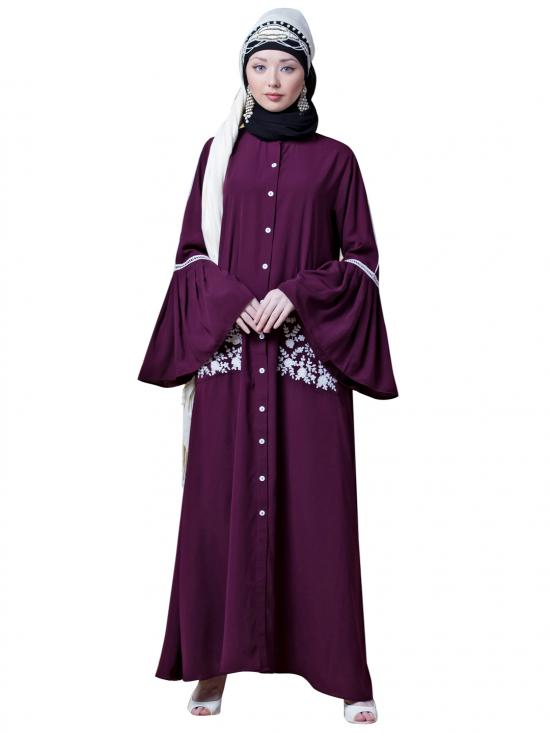 Crepe Embroidered Pocket With Bell Sleeve Casual Abaya In Wine