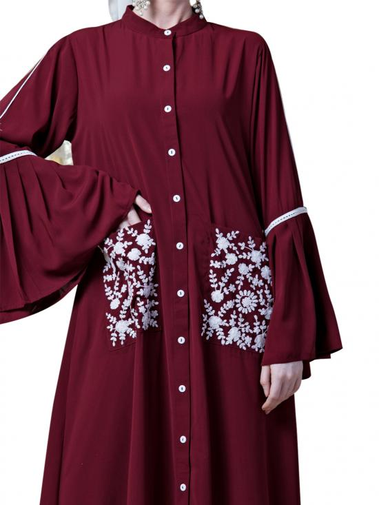 Crepe Embroidered Pocket With Bell Sleeve casual Abaya In Maroon
