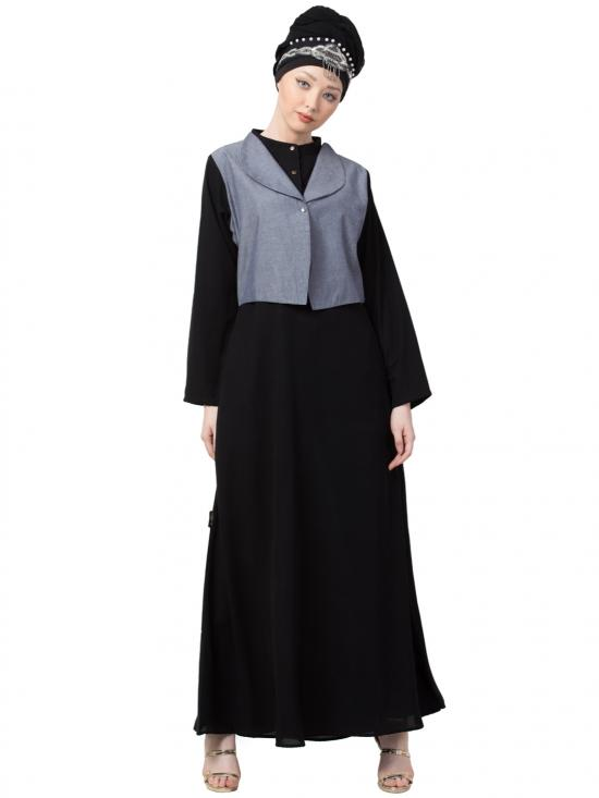 Crepe Extra contrast Jacket With executive Abaya In Blue And Black