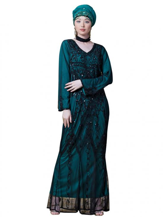 Net Hand Embroidered Party Abaya In Black And Green