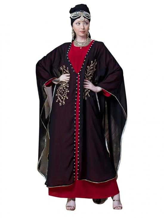 Georgette Butterfly Upper With Inner Embroidered Cum Kaftan In Black And Red