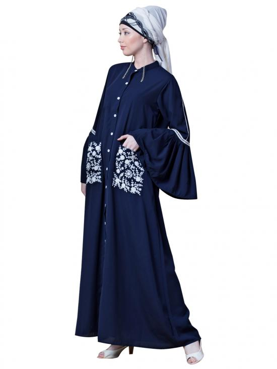 Crepe Embroidered Pocket With Bell Sleeve casual Abaya In Navy