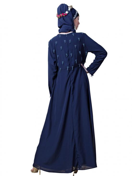 Georgette Hand embroidered Party Abaya In Navy